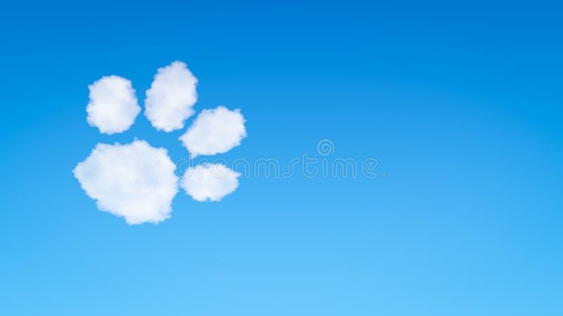 Cão ou Cat Footprint Symbol Shaped Cloud ilustração do vetor