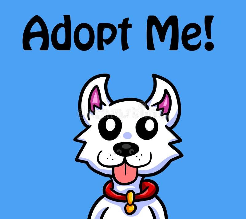 Cão pequeno adorável que deseja ser adotado ilustração do vetor