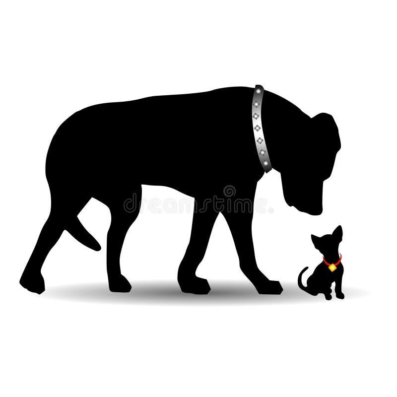 Cão pequeno do cão grande da silhueta