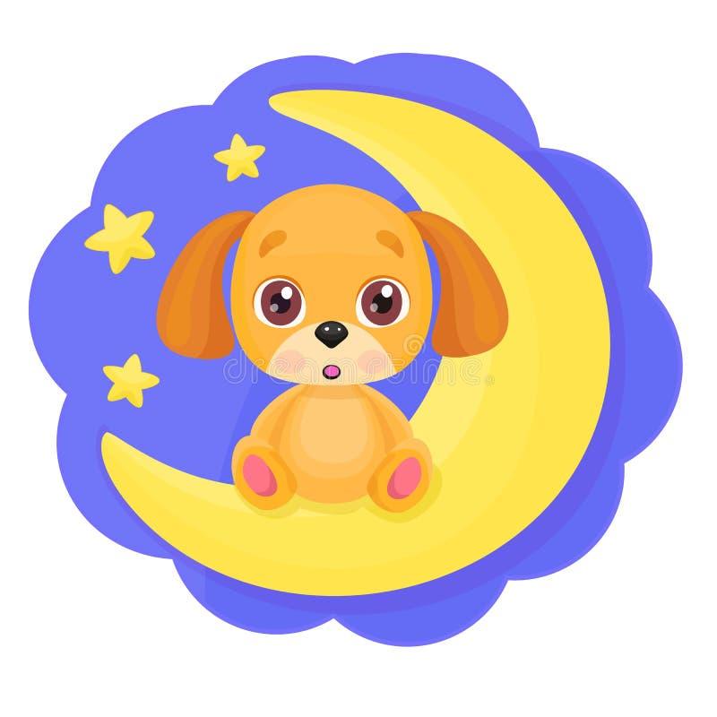 Cão pequeno dos desenhos animados bonitos que senta-se na lua com fundo brilhante das estrelas Cópia da criança, boa noite ou mol ilustração do vetor