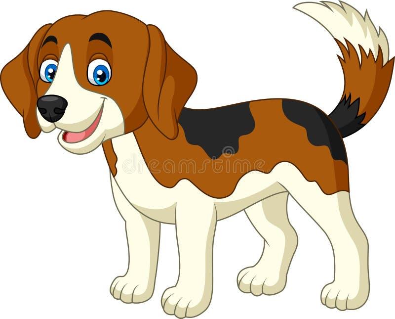cão pequeno feliz dos desenhos animados ilustração stock