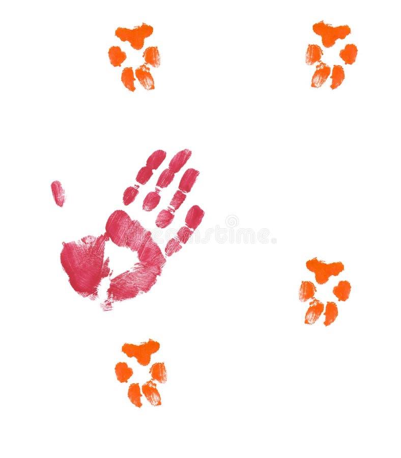 Cão petting da mão ilustração do vetor