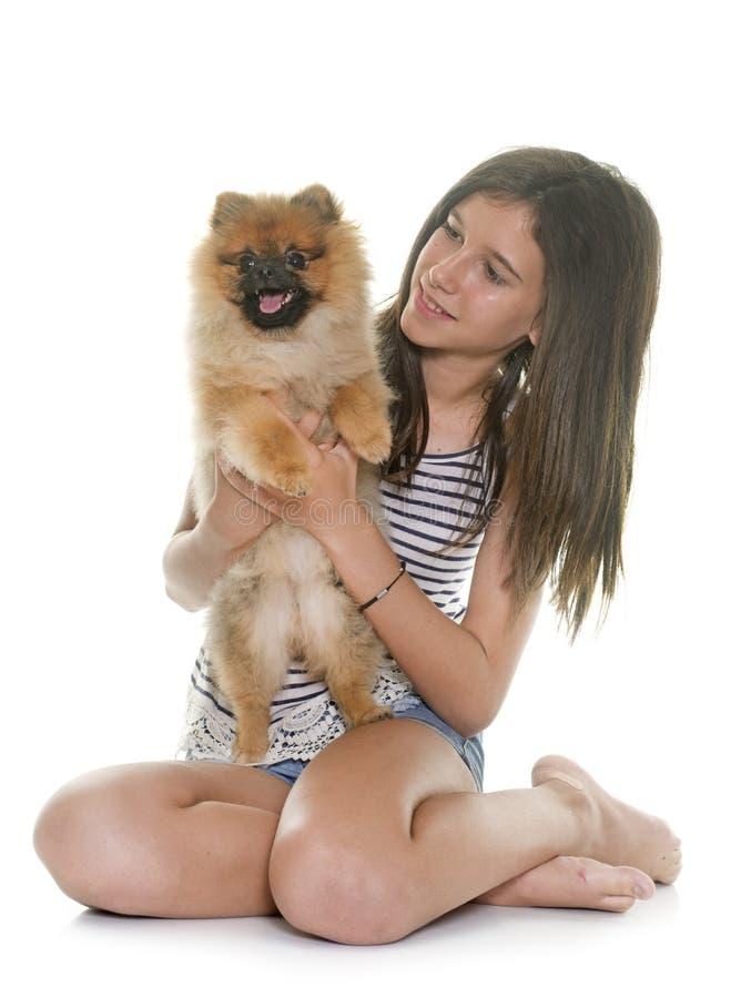 Cão pomeranian e adolescente novos fotografia de stock