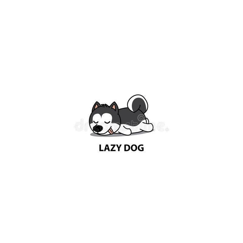 Cão preguiçoso, ícone bonito do sono do cachorrinho do cão de puxar trenós siberian, ilustração do vetor ilustração do vetor