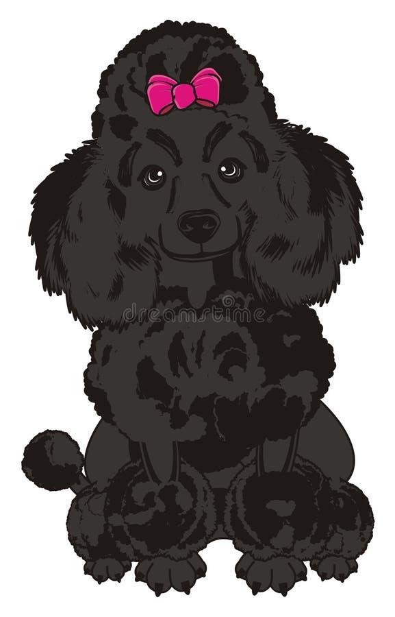 Cão preto da menina ilustração royalty free