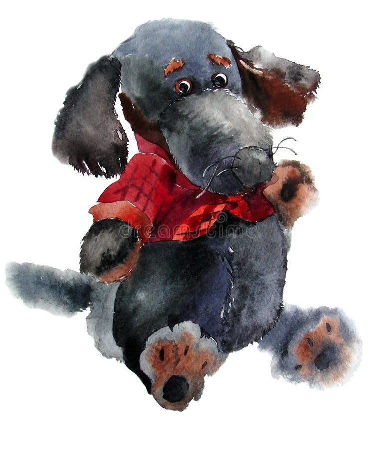 Cão preto do brinquedo engraçado do luxuoso fotografia de stock royalty free