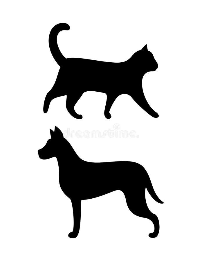 Cão preto e Cat Silhouettes Vetora Canine Feline ilustração do vetor