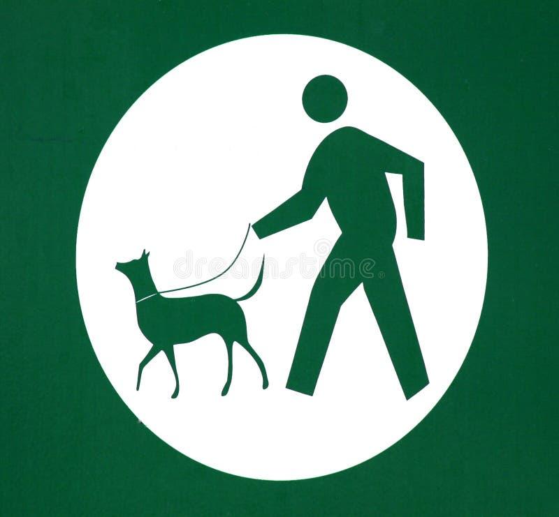 Cão que anda no sinal da trela fotografia de stock