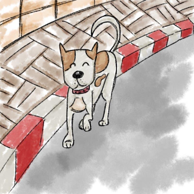 Cão que anda sobre lateralmente ilustração do vetor