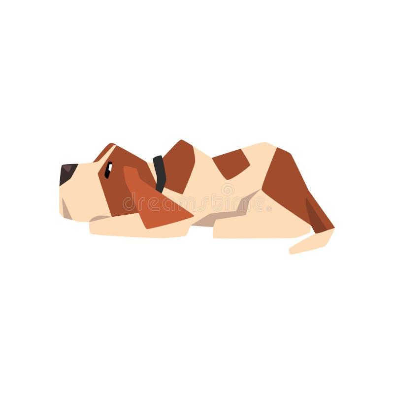 Cão que encontra-se no assoalho, ilustração animal engraçada bonito do lebreiro do vetor do personagem de banda desenhada em um f ilustração do vetor