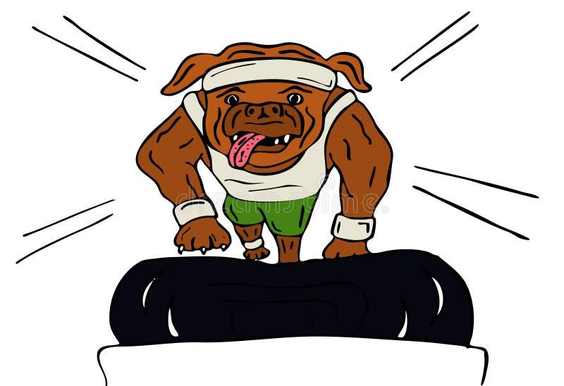 Cão que exercita na escada rolante