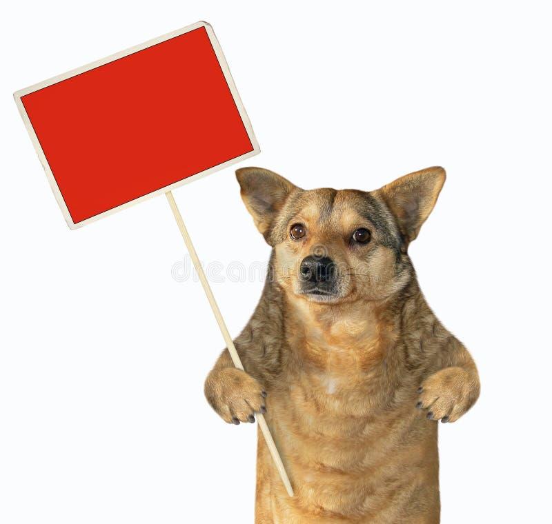 Cão que guarda um sinal vermelho vazio imagem de stock royalty free