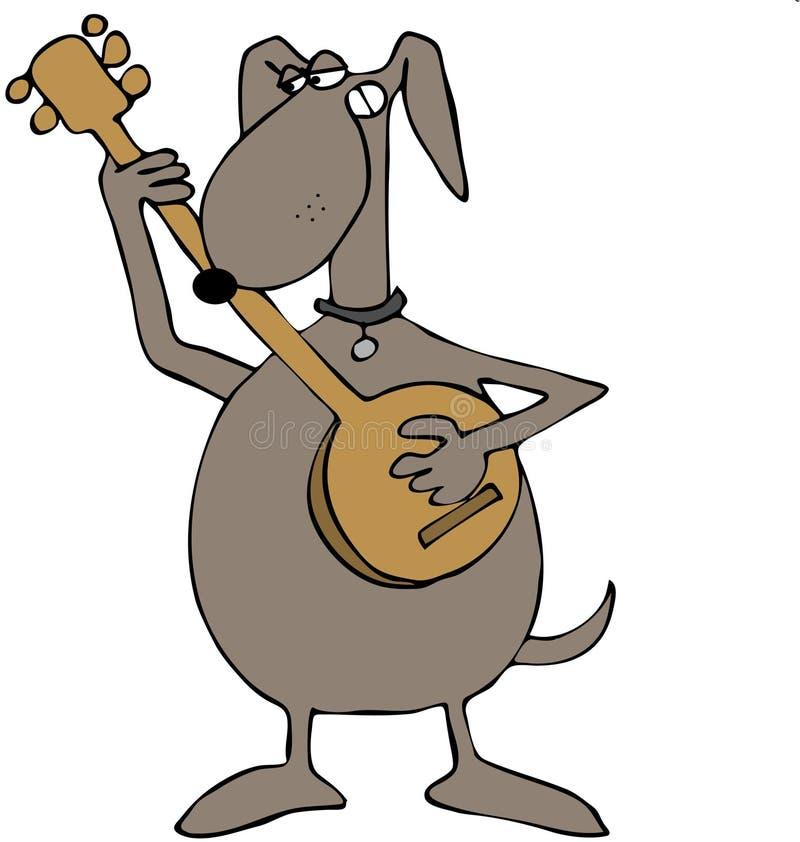 Cão que joga um banjo ilustração do vetor