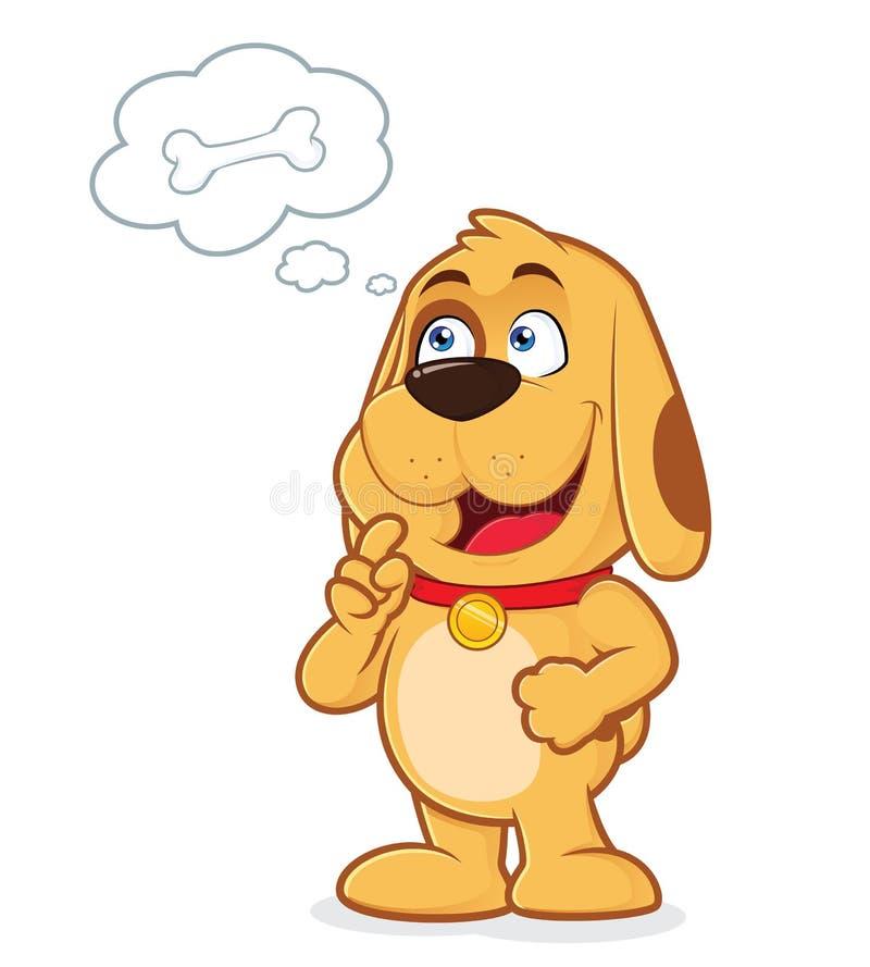 Cão que pensa sobre o osso ilustração do vetor