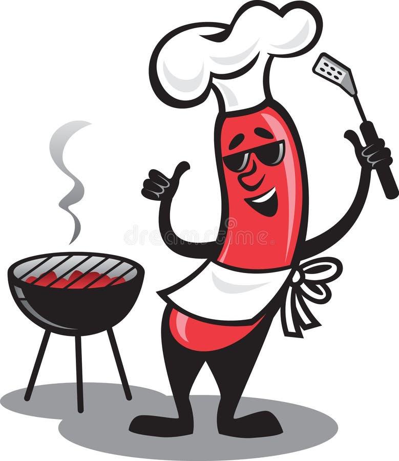 Cão quente do BBQ ilustração do vetor