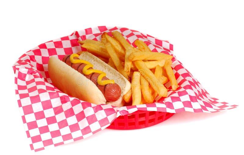 Cão quente e fritadas fotos de stock