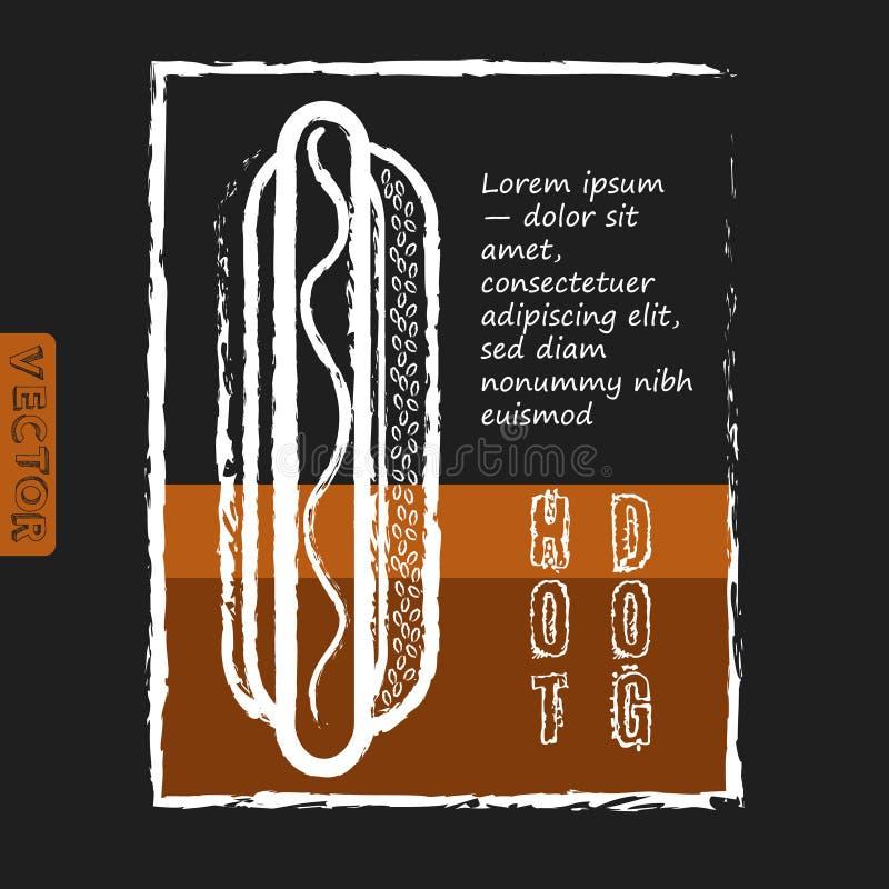 Cão quente Fast food delicioso Projeto do menu ilustração do vetor