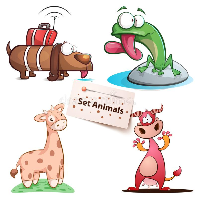 Cão, rã, girafa, vaca - animais ajustados ilustração do vetor