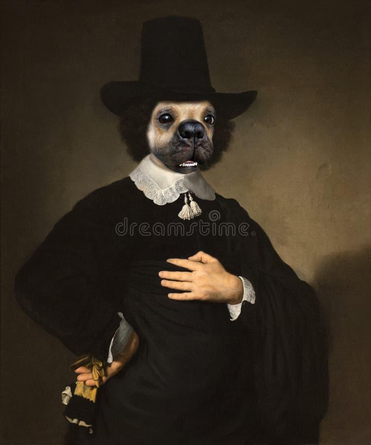 Cão surreal engraçado, pintura a óleo foto de stock royalty free