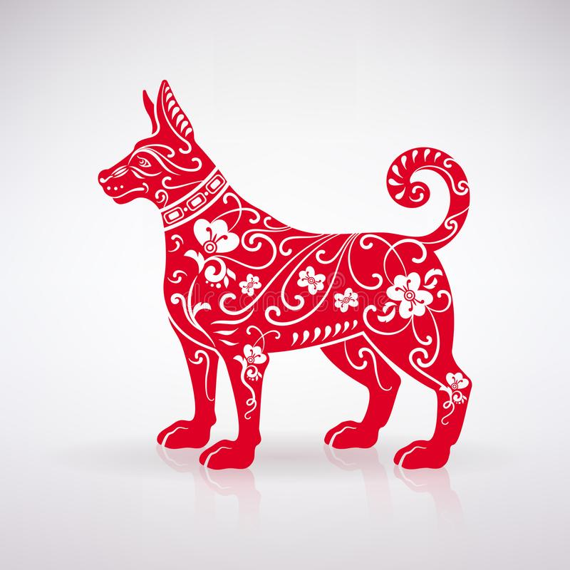 Cão vermelho estilizado ilustração do vetor