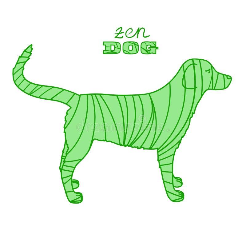 Cão Zentangle do projeto ilustração stock