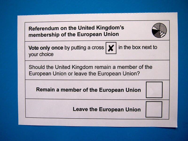 Cédula BRITÂNICA do referendo da UE imagem de stock