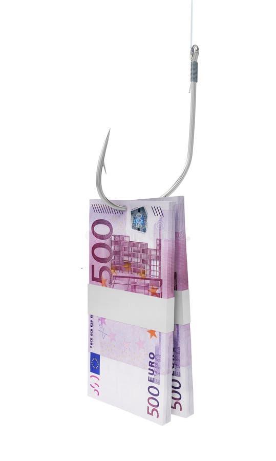 Cédula do dinheiro da pesca de gancho euro- ilustração do vetor