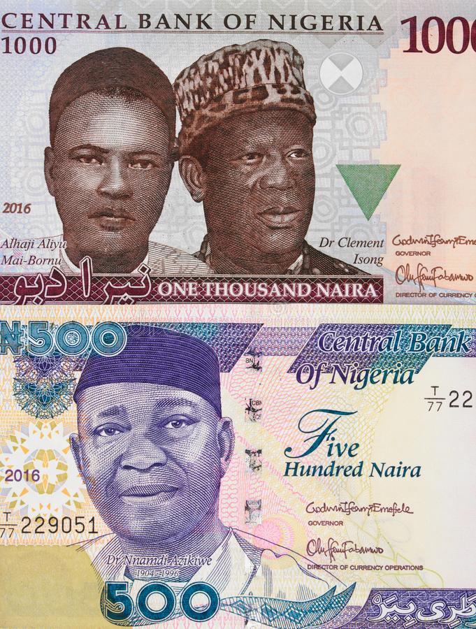 Cédulas centrais do naira nigeriano da moeda, dinheiro de Nigéria foto de stock royalty free