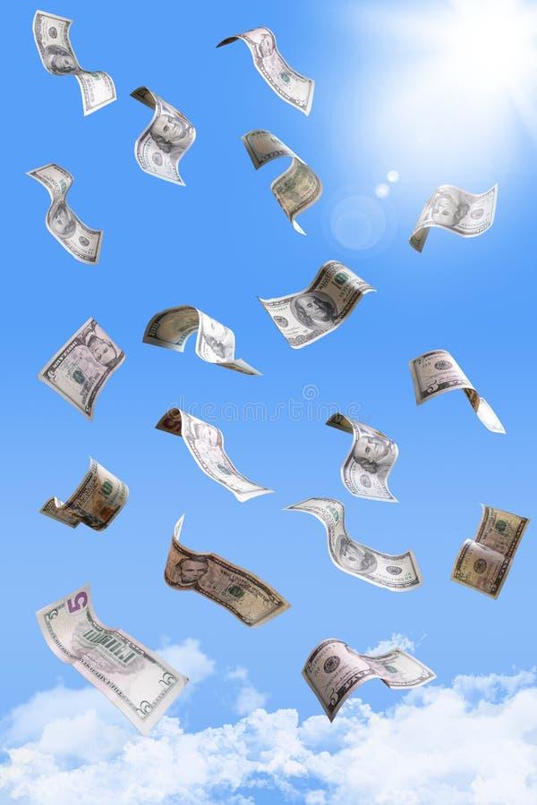 Cédulas de queda do dólar fotografia de stock royalty free
