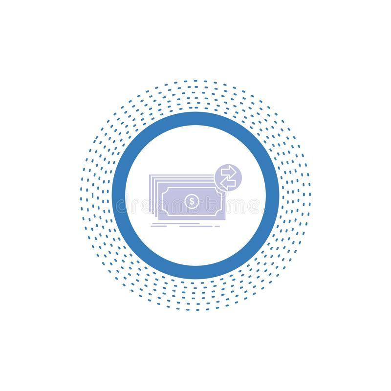 Cédulas, dinheiro, dólares, fluxo, ícone do Glyph do dinheiro Ilustra??o isolada vetor ilustração do vetor