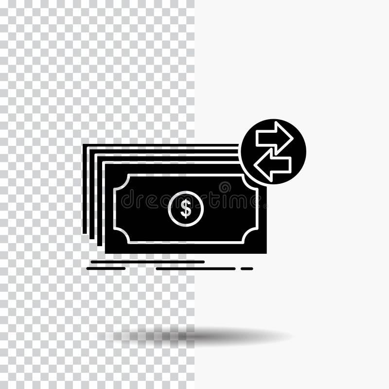 Cédulas, dinheiro, dólares, fluxo, ícone do Glyph do dinheiro no fundo transparente ?cone preto ilustração stock
