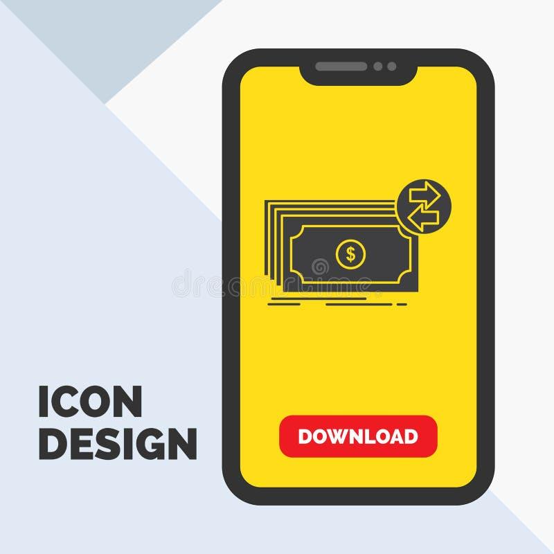 Cédulas, dinheiro, dólares, fluxo, ícone do Glyph do dinheiro no móbil para a página da transferência Fundo amarelo ilustração stock