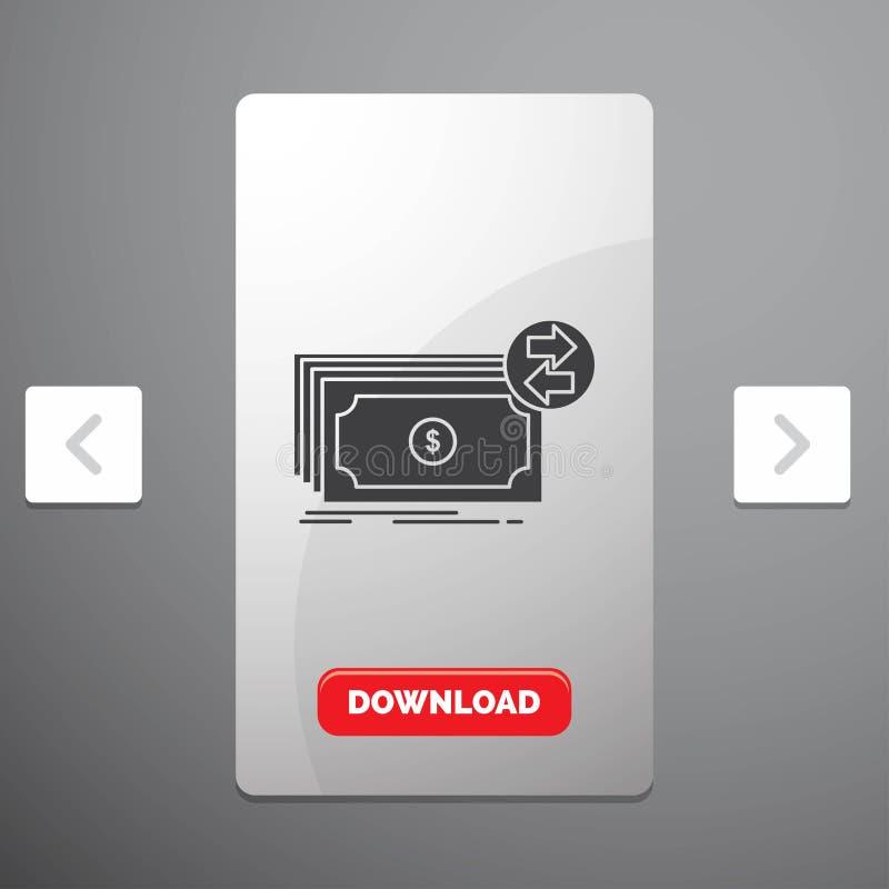 Cédulas, dinheiro, dólares, fluxo, ícone do Glyph do dinheiro no projeto do slider das paginações do Carousal & botão vermelho da ilustração stock
