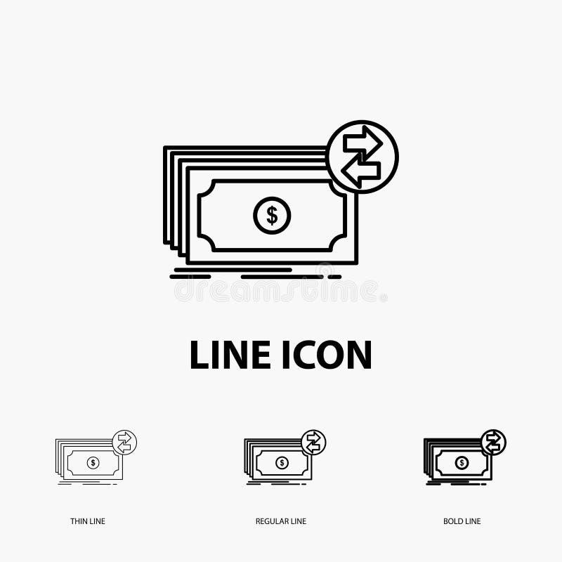 Cédulas, dinheiro, dólares, fluxo, ícone do dinheiro na linha estilo fina, regular e corajosa Ilustra??o do vetor ilustração do vetor