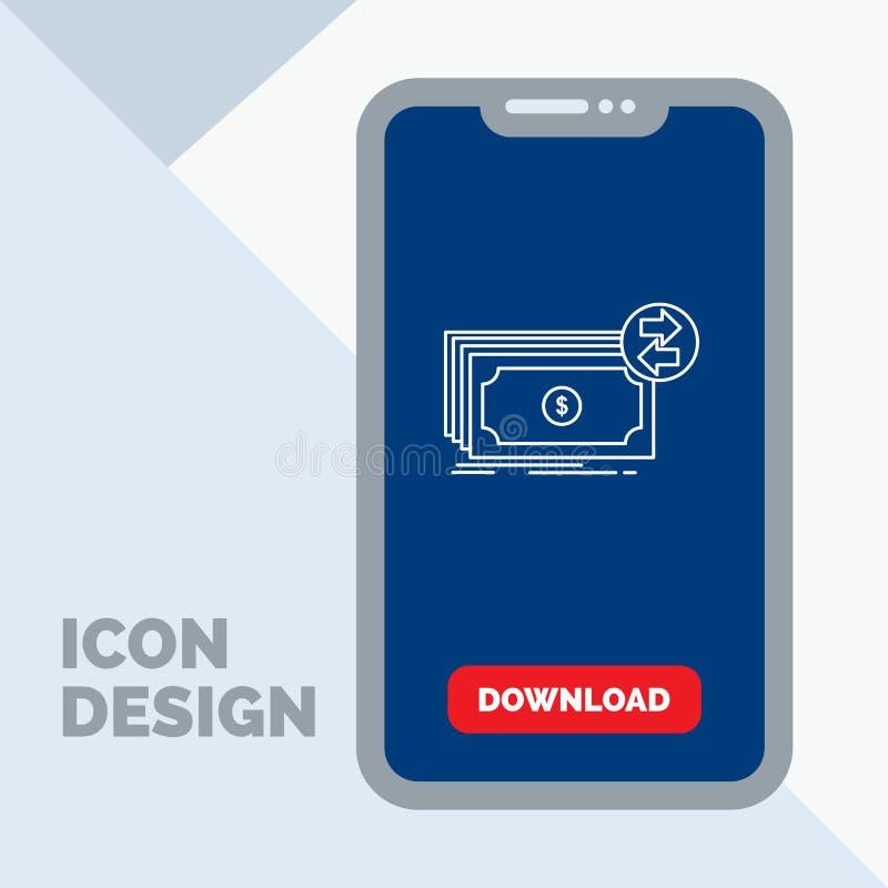 Cédulas, dinheiro, dólares, fluxo, linha ícone do dinheiro no móbil para a página da transferência ilustração stock