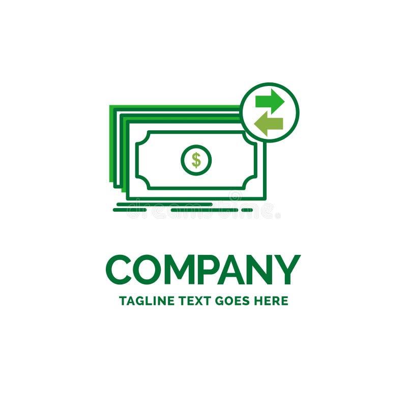 Cédulas, dinheiro, dólares, fluxo, templat liso do logotipo do negócio do dinheiro ilustração stock