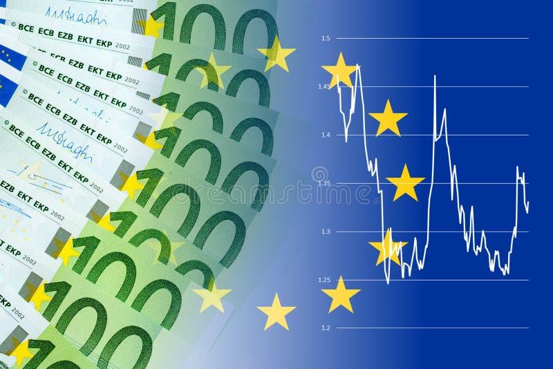 Cédulas do Euro com taxa de câmbio da moeda ilustração stock