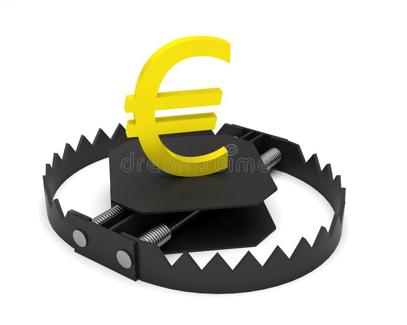 Cédulas do símbolo da armadilha da moeda do risco do dinheiro euro- ilustração stock