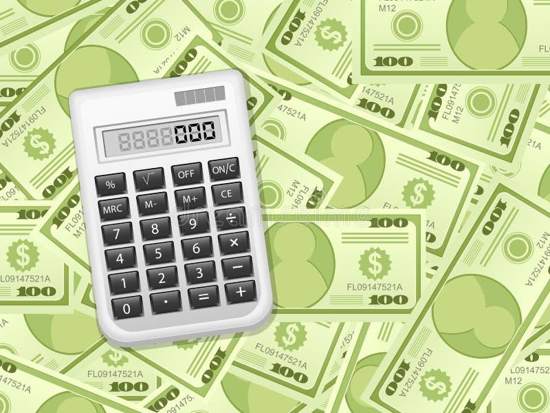 Cédulas e calculadora do dólar ilustração stock