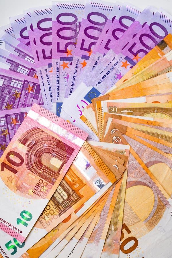 Cédulas e dinheiro do dinheiro do Euro 10,50, euro 500 imagens de stock