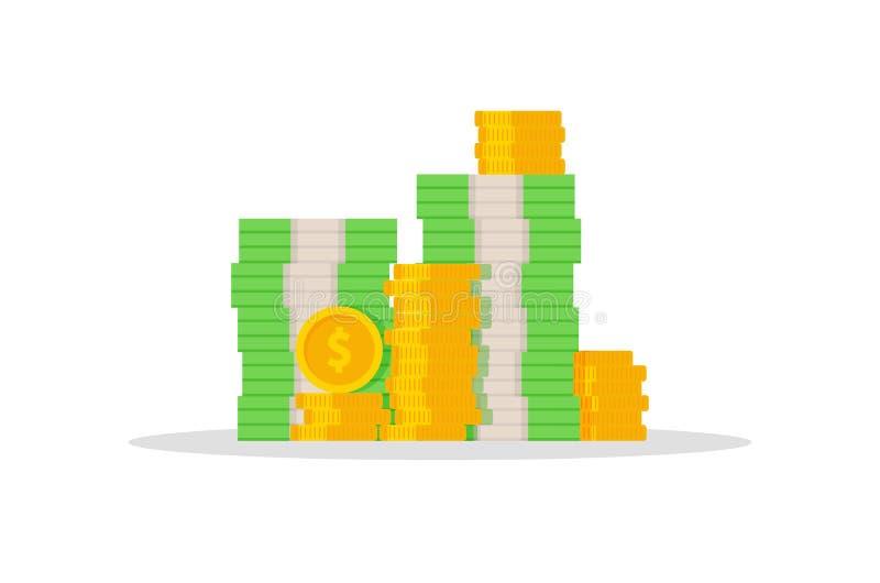 Cédulas e moedas Dólares do dinheiro Isolado Vetor ilustração stock