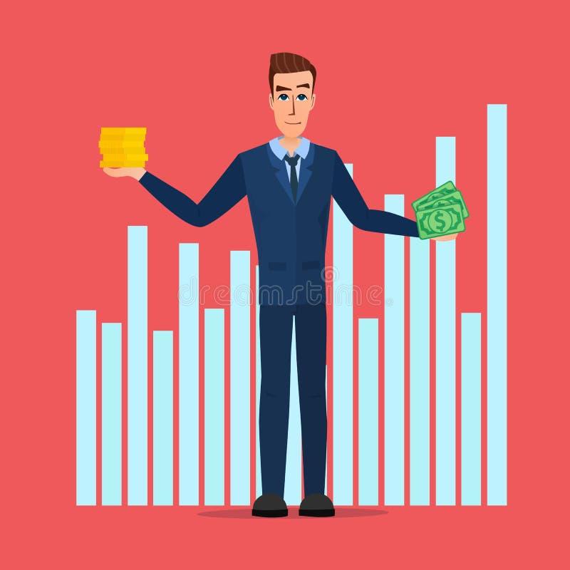 Cédulas e moedas de Hold Money do homem de negócios Desenhos animados do negócio ilustração royalty free