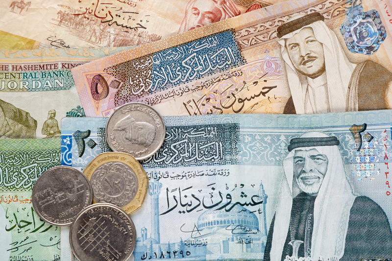 Cédulas e moedas do dinar jordano fotos de stock royalty free