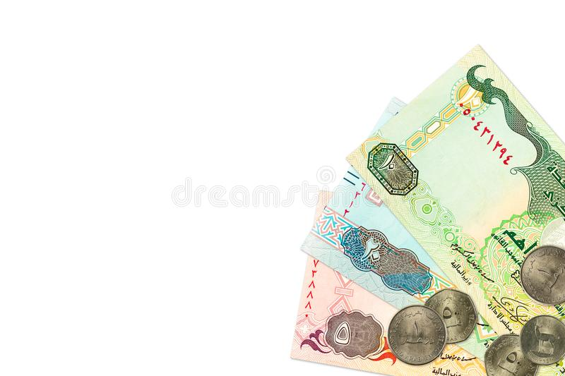 Cédulas e moedas do dirham de alguns United Arab Emirates fotos de stock royalty free