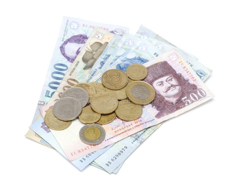 Cédulas e moedas húngaras da forint foto de stock