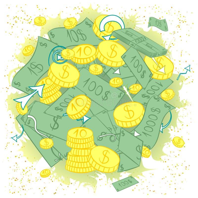 Cédulas e moedas tiradas mão Desenhos da garatuja de dinheiro arranjados em um círculo ilustração royalty free