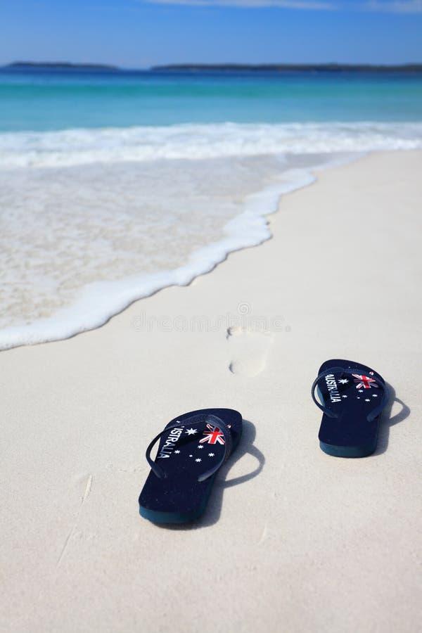 Célébration australienne de vacances de plage de lanières de drapeau image stock