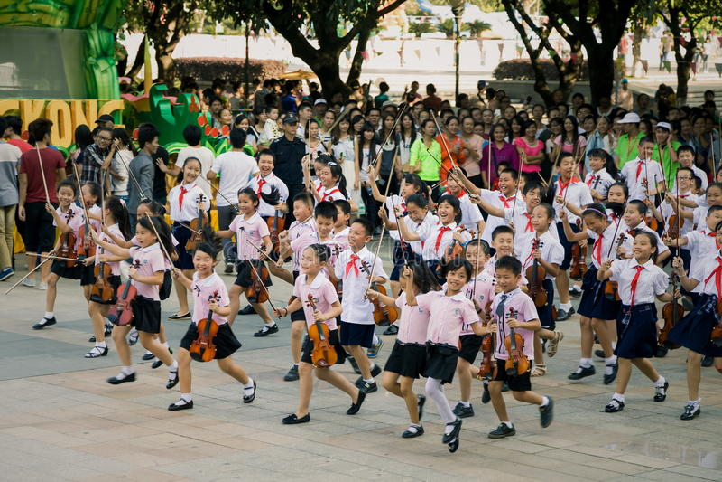 Célébration chinoise d'élèves photographie stock