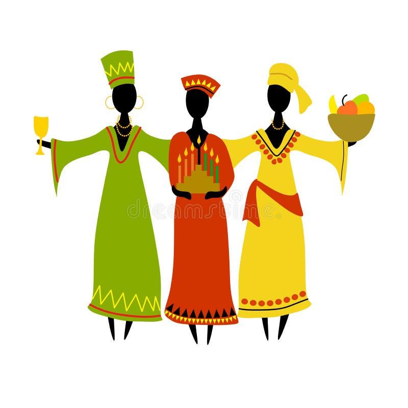 Célébration culturelle de Kwanzaa d'isolement illustration de vecteur