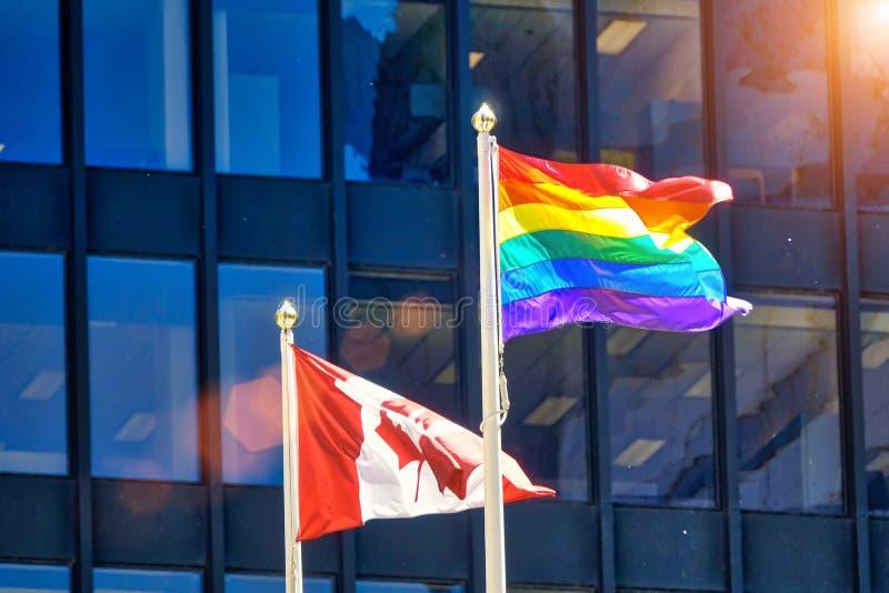 Célébration d'homosexuel et de juste de LGBTQ sur l'affichage à Toronto du centre, photos libres de droits